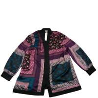 Chicos Bohemian Patchwork Soft Long Sleeve Jacket Black Purple Size 3 NWT New
