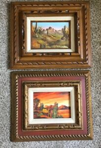 original oil painting landscape cactus southwest desert signed wall decor art