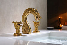 "Gold 3 Holes 8"" widespread bathroom lavatory basin sink dragon Faucet tap NEW"