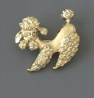 Adorable Vintage Poodle dog Brooch in gold tone metal