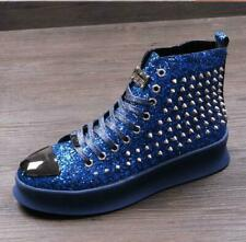 Mens Punk Athletic Sequins Vogue Sneakers Spike Rivet Boot Studs High-Top Shoes