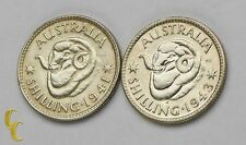 1941-43 Australia Shilling Silver Coin Lot of 2 KM# 39