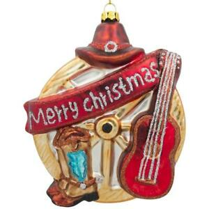 Guitar, Cowboy Boots, Hat and a Wheel Western Glass Christmas Ornament