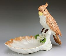Antique Italian Italy Pottery Parrot Figure Figurine on a Leaf Bowl