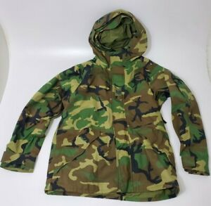 US Military Gore-Tex Woodland Camo Cold Weather Hooded Parka Large Long-Excellen