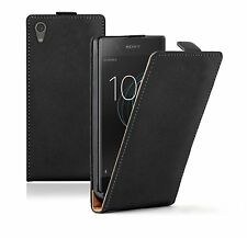 SLIM BLACK Sony Xperia XA1 Leather Flip Case Cover  For Mobile Phone
