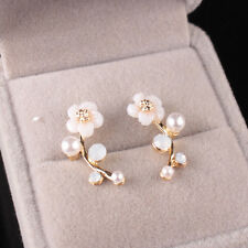 Accessories Shell Leaves Jewelry Branches Gift Stud Earrings Pearl Flower