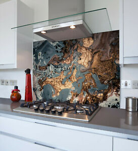Toughened & Heat Resistant Printed Kitchen Glass Splashback - Gold Deluxe
