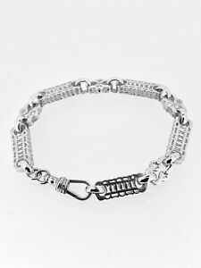 STARS and BARS BRACELET in Sterling Silver by J HERRON 8 INCH ( 20 CMS approx)