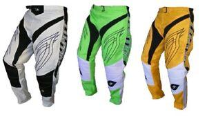 Bullpitt Motocross Pants Trail Downhill White Yellow Green Size 18 20 26 32 38