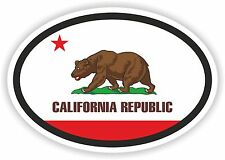 OVAL CALIFORNIA STATE WITH FLAG USA STICKER AUTO MOTO TRUCK LAPTOP BIKE CAR