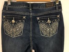 D Mode Women's Jeans Denim Straight Embroidered Embellished Stretch Size 11