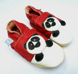 DAISY ROOTS BABY SOFT LEATHER RED & WHITE PANDA PRAM INDOOR SHOE 6-12 MONTHS
