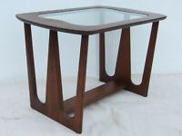 PICK UP ONLY! Vintage 1950's/1960's Mid Century Sculpted Wood Table w/Glass Top