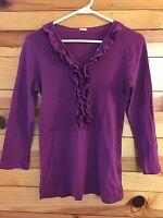 *J. CREW* Women's Purple Ruffled Henley Top Shirt Size S