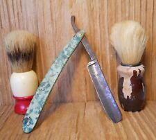 Vintage Shapleigh Straight Razor #9 Diamond Edge  and 2 Shaving Brushes