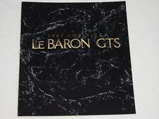 NOS 1987 Chrysler LeBaron GTS Color Car Automobile Brochure MINT Condition