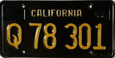 USA Number Licence Plate CALIFORNIA BLACK AND GOLD 1963 BASE