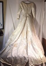 Small Vintage Lace Embroidered Satin Ivory Wedding Gown Formal Dress and Box