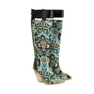 Women's Knee High Boots Block High Heels Zipper Up Synthetic Leather Party Shoes