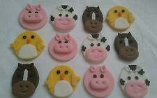 12 mezcla de Azúcar Pastel de Cumpleaños animales de granja, Decoraciones Cupcake Topper