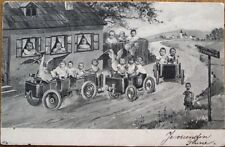 Multiple Baby 1903 Postcard: Babies in Early Cars / Unusual Vehicles