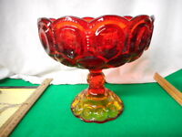 """Beautiful Amberina Footed 8"""" Compote Moon And Stars"""