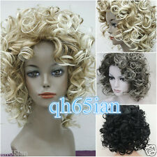 Mujeres SEÑORAS CORTO black/blonde/grey Mix rizado ondulado cabello Natural pelucas + Peluca Cap