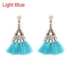 Women Crystal Cotton Tassel Skirt Dangle Drop Earrings Fashion Jewelry 2017 Light Blue