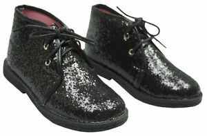 New Missi Girls glittery black flat ankle boots lace up  sizes  6,8,10,11,12