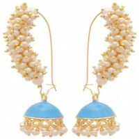 Indian Ethnic Gold Plated Pearl Turquoise Blue Traditional Meenakari Earrings