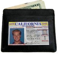 Black Genuine Leather Mens Thin Wallet  ID Card Billfold Holder Front Pocket