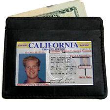 Black Genuine Leather Mens Thin Wallet  ID Badge Credit Card Holder Front Pocket