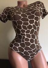Beautiful bodysuit  XS cotton stretch top long sleeve tong  leotard