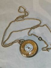 SUPERB VINTAGE LADIES SWISS WIND UP LUCERNE PENDANT EMBOSSED WATCH WITH CHAIN