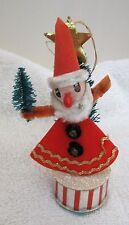 Vintage Santa Holding Bottle Brush Christmas Tree Standing on Drum Ornament T29