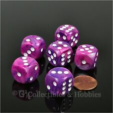 NEW 6 Festive Violet w/ White Pips D6 Dice Set 16mm Six Sided RPG D&D Game D6s