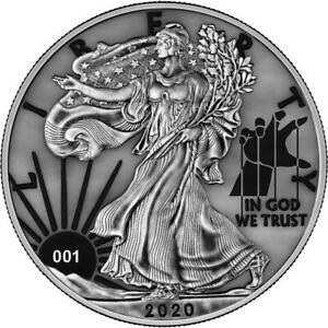 USA 2020 1$ Liberty Space Colour Edition - PAINT IT GREY - 1 Oz Silver Coin