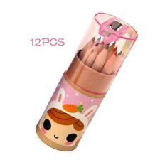 Pink Kids 12pcs Vivid Colouring Pencils Wood School Art Craft Drawing Colored JS