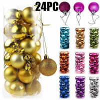 24PC 30mm Christmas Tree Balls Small Bauble Hanging Home Party Ornament Decor
