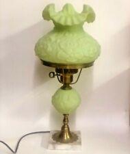 "Vintage 1973 Fenton Poppy Lime Sherbet Green Satin Uranium 20"" Student Lamp 9107"