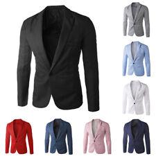 BG_ Stylish Men's Casual Slim Formal One Button Suit Blazer Coat Jacket Tops Sig