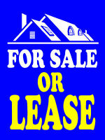 """For Sale or Lease Business Retail Display Sign, 18""""w x 24""""h, Full Color"""