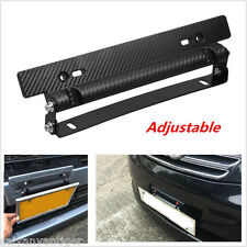 Universal Race Carbon Fiber Look License Plate Frame Adjust Angle Mount Bracket
