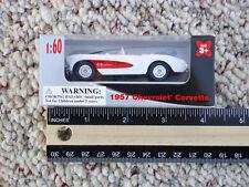 "3"" 1:60 Welly 1957 Chevrolet Corvette Diecast Car Item 0088 White Red"