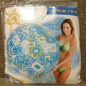 "Inflatable beach ball 48"" by Intex #59070 (blue rounded squares)"