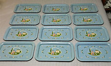 "12 (Or Less) Light Blue ""Mary Had A Little Lamb"" Metal Tv Trays"