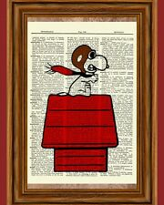 Snoopy Fighter Pilot Ace Peanuts Dictionary Art Print Picture Charlie Brown