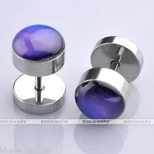Pair Steel 16G Purple Night Sky Fake Plug Expander Cheater Ear Stud Earrings