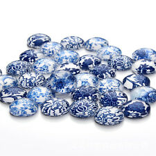 30pcs/lot 12mm Mixed Blue and white porcelain Handmade Photo Glass Cabochons